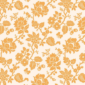 Ivory and Gold Traditional Floral