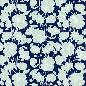 Large Mint & Navy Poppies