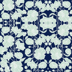 Large Mint & Navy Poppies Brocade
