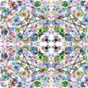 kaleidescope pastel watercolor flowers