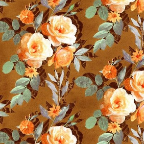 Small Retro Rose Chintz in Apricot and Olive on Brown