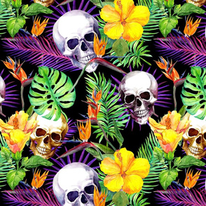 Exotic jungle, tropical flowers, skulls. Watercolor in neon colors