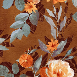 Over-sized Retro Rose Chintz in Warm Orange on Rust Brown