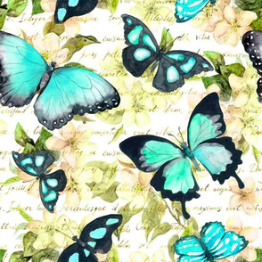 Butterflies on flowers with hand written text. Watercolor
