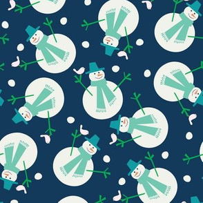 snowman and birdie vintage blue