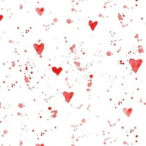 Watercolor hearts and splatters • cardinal red • spattered paint