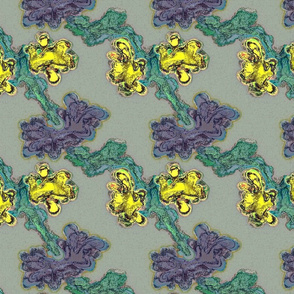 Abstract Flower- Yellow Purple