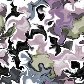 Abstract Flowers- Pink Purple Green