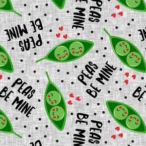 peas be mine - valentines cute peas in a pod - grey - LAD19