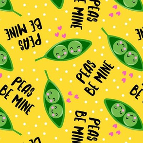 peas be mine - valentines cute peas in a pod - yellow - LAD19