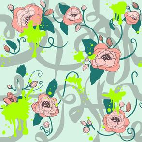 Graffiti Chintzy Poppies on Pastel Mint