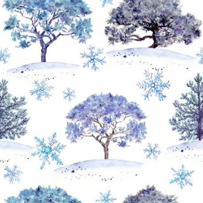 Winter forest. Trees in snow with snowflakes. Watercolor