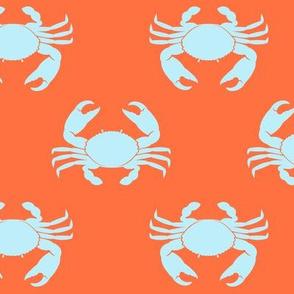 crabs (blue on coral reef orange) - nautical C19BS