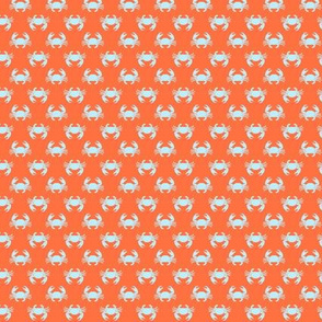 (extra small scale) crabs (blue on coral reef orange) - nautical C19BS