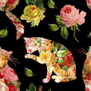 Rose Kitties Vintage Floral