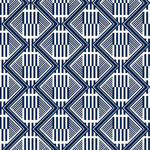 Tropical Deco Geo- Navy and White