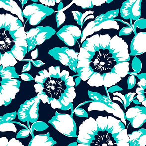 Tropical Joie Floral- Navy and Aqua