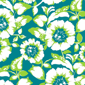 Tropical Joie Floral- Blue and Green