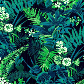 Tropical Jungle- Navy