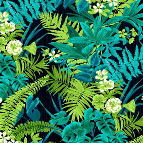 Tropical Jungle- Aqua and Citron