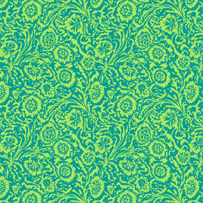 Tropical Odessa Floral- Citron and Teal