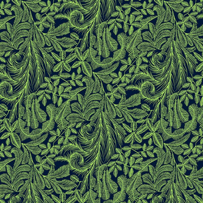Tropical Willow- Green and Navy