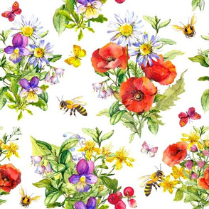 Summer field flowers and honey bees. Watercolor