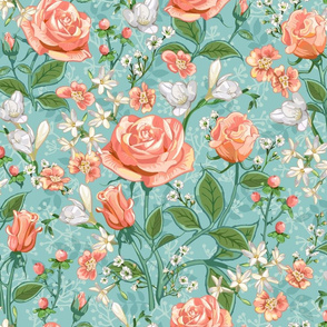 Peach Roses Chintz