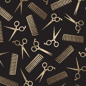 Gold Combs and Scissors (black background)