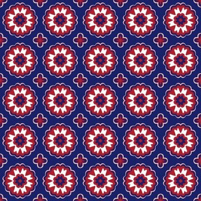 Montreal Canadiens Hockey Flower Garden Geometric Team Colors Blue Red White
