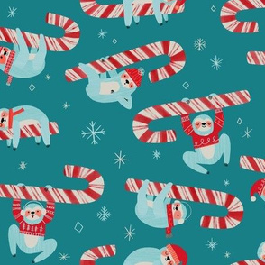 Candy Cane Christmas Sloth