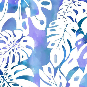 Monstera watercolor-blue purple
