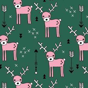 Cute winter reindeer christmas theme illustration with geometric arrows and triangles in forest green pink