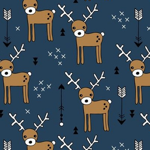 Cute winter reindeer christmas theme illustration with geometric arrows and triangles in navy blue brown
