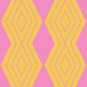 JP26 - Medium - Harlequin Pinstripe Diamond Chains in  Golden Yellow and  Pink