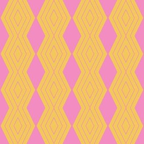 JP26 - Small - Harlequin Pinstripe Diamond Chains in  Golden Yellow and  Pink