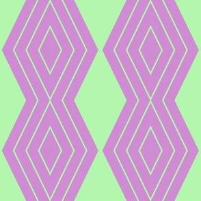 JP 25 - Medium - Harlequin Pinstripe Diamond Chains in Pastel Green on Raspberry Pink