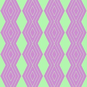 JP25 - Small - Harlequin Pinstripe Diamond Chains in Pastel Green on Raspberry Pink