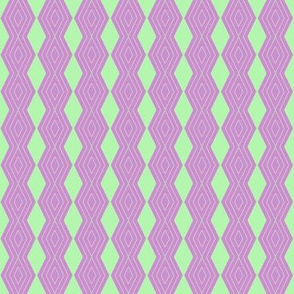 JP25 - Tiny - Harlequin Pinstripe Diamond Chains in Pastel Green on Raspberry Pink