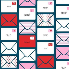 valentines - love letters - red and pink on dark teal Hearts - LAD19