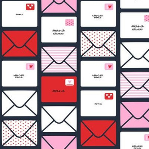 valentines - love letters - red and pink Hearts - LAD19