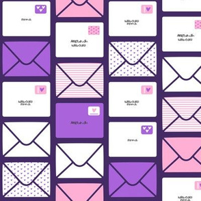 valentines - love letters - Purple Hearts - LAD19