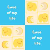 Yellow & Blue Love of my life Elephants