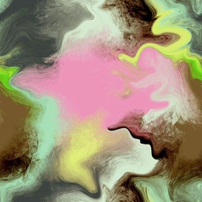 Abstract Painting - Green Pink Yellow