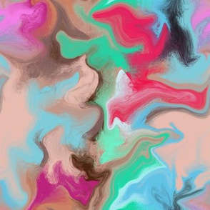 Abstract Painting - Peach Red Blue