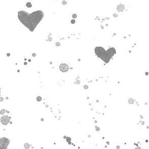 Silver grey watercolor hearts and spatters • paint splatters for neutral nursery