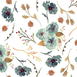 Fall Floral Pattern in Forest Green