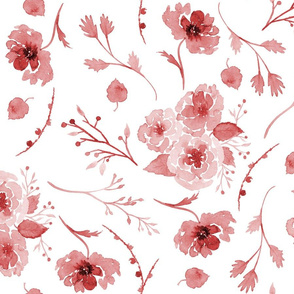 Fall Floral Pattern in Cranberry