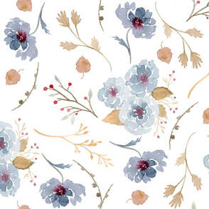 Fall Floral Pattern in Blueberry