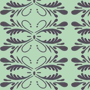 Swan Flourish Pattern in Peppermint